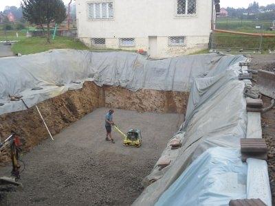 Baugrube für Löschwasserbehälter