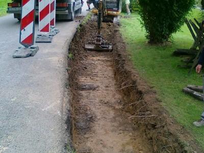 Vorbereitung Stützwand in Scheibenberg
